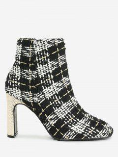 High Heel Plaid Color Block Ankle Boots - Black White 35