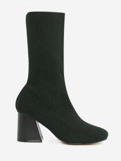 Block Heel Ankle Boots - Green 37