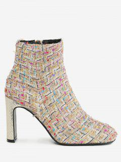 High Heel Plaid Color Block Ankle Boots - Pinkbeige 38