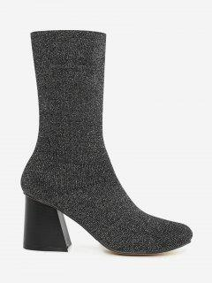 Block Heel Ankle Boots - Silver 35