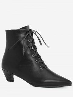 Pointed Toe Kitten Heel Ankle Boots - Black 35