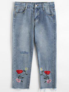 Frayed Hem Floral Embroidered Ripped Jeans - Light Blue L