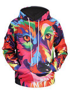 Sweat à Capuche Imprimé Animal Abstrait Coloré Avec Poche Kangourou  - 2xl