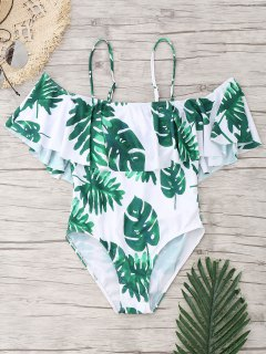 Palm Leaf Ruffle One Piece Swimsuit - White And Green M