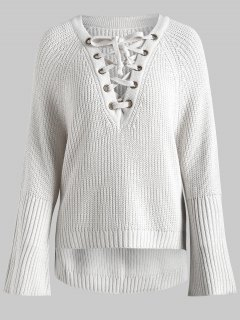 Side Slit Lace Up High Low Sweater - Off-white