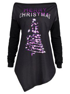 Merry Christmas Irregular Plus Size Túnica Camiseta - Púrpura 5xl