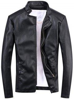 Casual Full Zip Faux Leather Jacket - Black 2xl