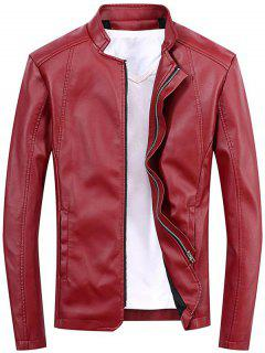 Veste En Cuir Faux Full Zip Casual - Rouge Xl