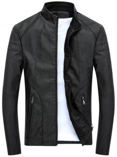 Full Zip Stand Collar PU Leather Jacket - Black M