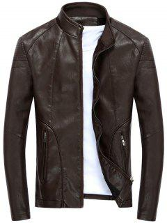 Full Zip Stand Collar PU Leather Jacket - Deep Brown M