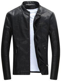 Full Zip Casual PU Leather Jacket - Black Xl