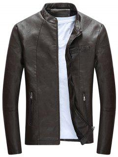 Full Zip Casual PU Leather Jacket - Dun L
