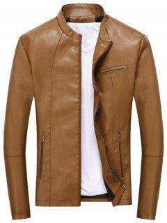 Full Zip Casual PU Leather Jacket - Light Brown L