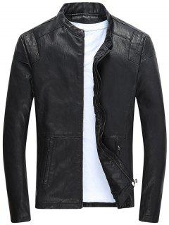Casual Full Zip PU Leather Jacket - Black Xl