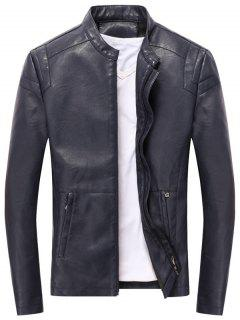 Casual Full Zip PU Leather Jacket - Deep Blue L