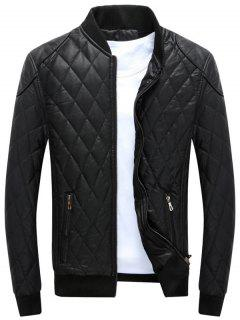 Zip Up Diamond Faux Leather Bomber Jacket - Black M