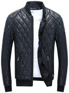 Zip Up Diamond Faux Leather Bomber Jacket - Blue L