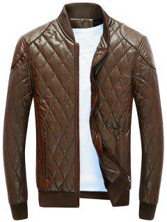 Zip Up Diamond Faux Leather Bomber Jacket - Brown M