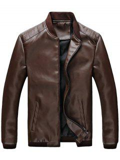 Casual Zip Up PU Leather Bomber Jacket - Coffee 2xl