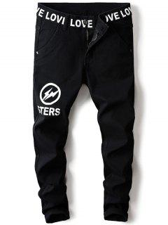 Zip Fly Lightning Graphic Jeans - Black 36