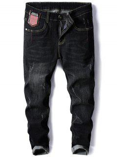 Star And Stripe Embroidery Tapered Jeans - Black 32