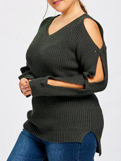 Plus Size Slit Sleeve V Neck Sweater - Black Grey 4xl