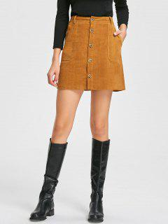 Patch Pockets A-line Corduroy Skirt - Camel S