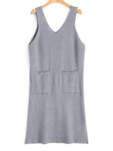 latest Longline Side Slit Vest V Neck Sweater - GRAY ONE SIZE Mobile