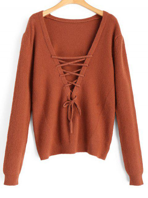 trendy Pullover Lace Up V Neck Sweater - BRICK-RED ONE SIZE Mobile