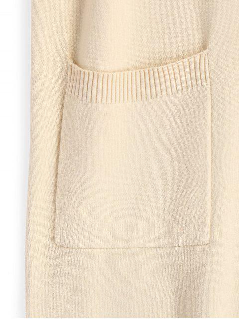 hot Longline Half Zip Vest V Neck Sweater - APRICOT ONE SIZE Mobile