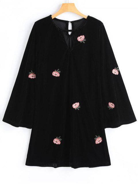 unique Velvet Floral Embroidered Long Sleeve Dress - BLACK S Mobile