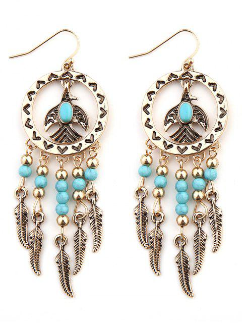 Boucles d'Oreilles Plumes Faux Turquoise Turquoise - Or  Mobile