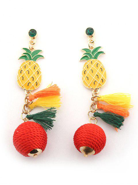 Strass Quaste Ananas Ball Ohrringe - Golden  Mobile