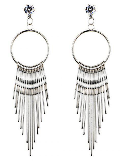 Pendientes largos con adornos de metal y borlas de cristal - Plata  Mobile
