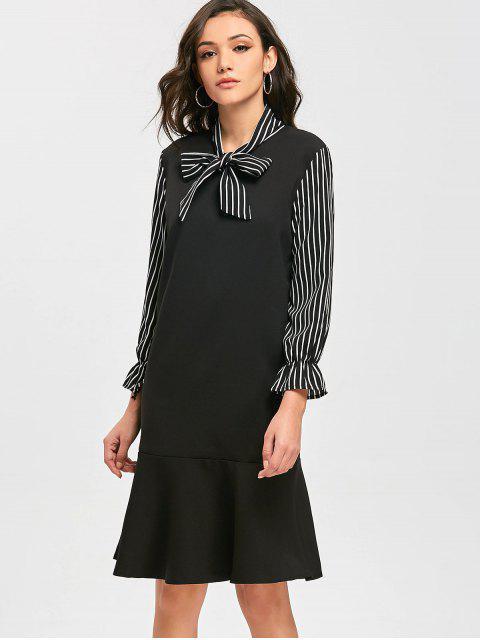 Robe Rayée à Noeud Papillon - Noir L Mobile
