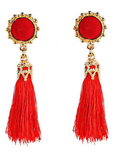 Boucles d'Oreilles avec Pompon Long Style Bohémien Vintage - Rouge  Mobile