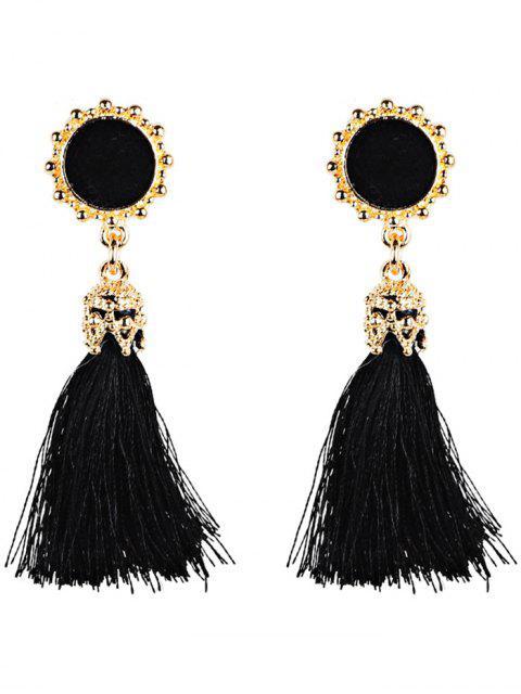 Boucles d'Oreilles avec Pompon Long Style Bohémien Vintage - Noir  Mobile