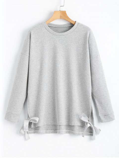 Loose Bow Tied Slit Sweatshirt - Gris L Mobile