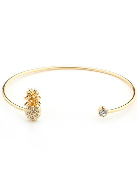 fancy Cute Rhinestoned Pineapple Cuff Bracelet - GOLDEN  Mobile