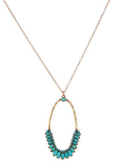 Faux Turquoise Ovale Bohème Pendentif Collier - Or  Mobile