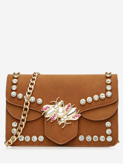 lady Faux Pearl Rhinestone Insect Crossbody Bag -   Mobile