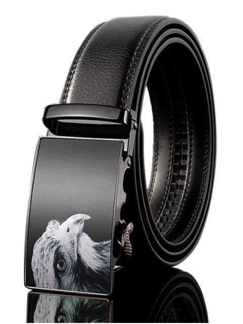 Ceinture large en cuir PU ornée d'une boucle d'oreille 3D - Noir 130cm Mobile