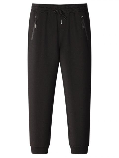 womens Drawstring Zip Pocket Jogger Pants - BLACK XL Mobile