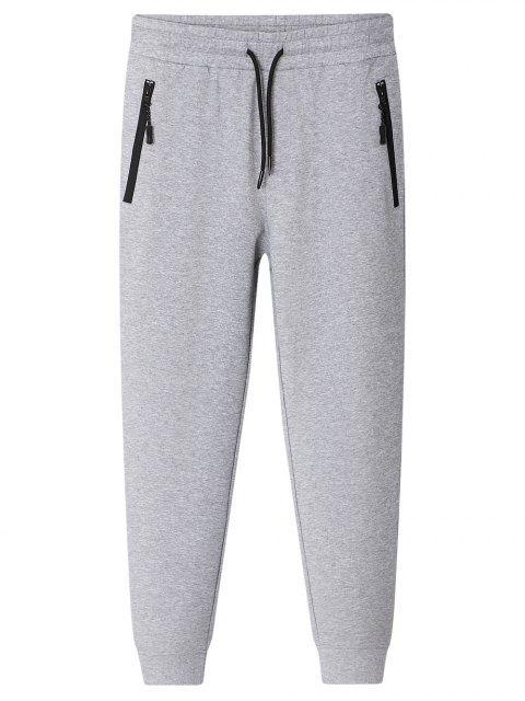 Pantalon de Jogger avec Poches Zippées - Gris 2XL Mobile
