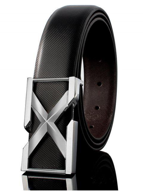 Boucle Métallique 3D Lettre Boucle Agrémentée PU Ceinture Large en Cuir - Blanc + Noir + Argent  110CM Mobile