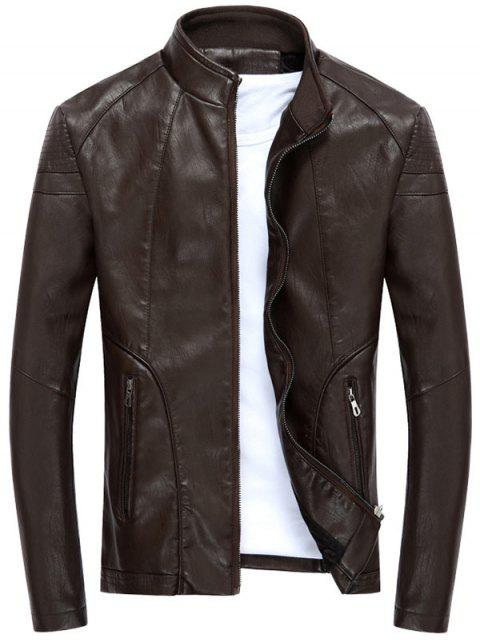 shops Full Zip Stand Collar PU Leather Jacket - DEEP BROWN M Mobile