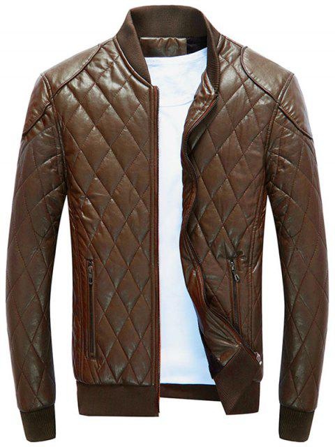 latest Zip Up Diamond Faux Leather Bomber Jacket - BROWN XL Mobile