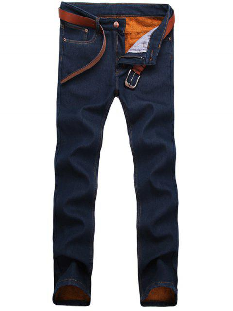 Zip Fly Straight Leg Flocking Jeans - Azul Purpúreo 38 Mobile