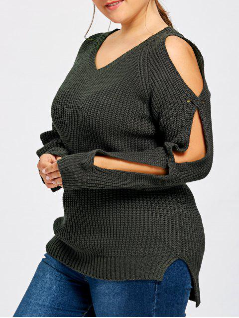 womens Plus Size Slit Sleeve V Neck Sweater - BLACK GREY 4XL Mobile