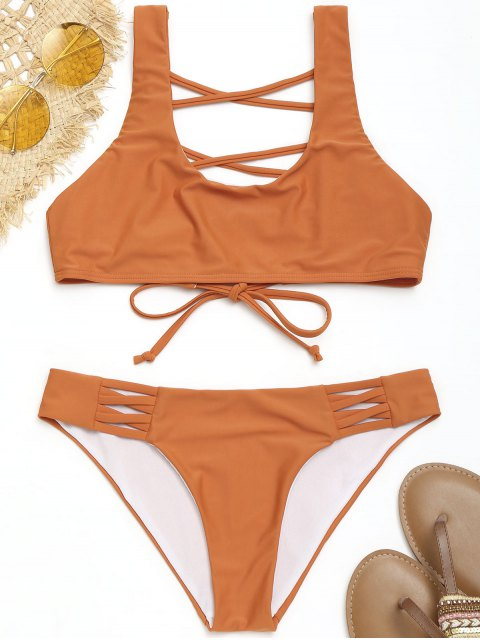hot Strappy U Neck Bathing Suit - ORANGE S Mobile